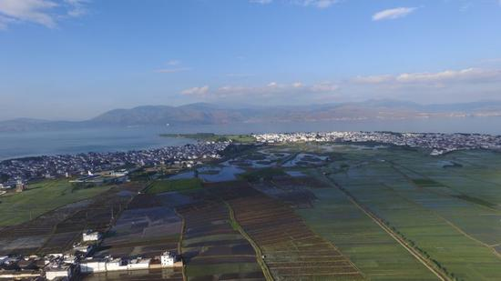 航拍镜头下的喜洲古镇,一幢幢整齐、庄重的白族民居与蓝天、白云、田园相衬,绘就出了一幅幅美丽的画卷。